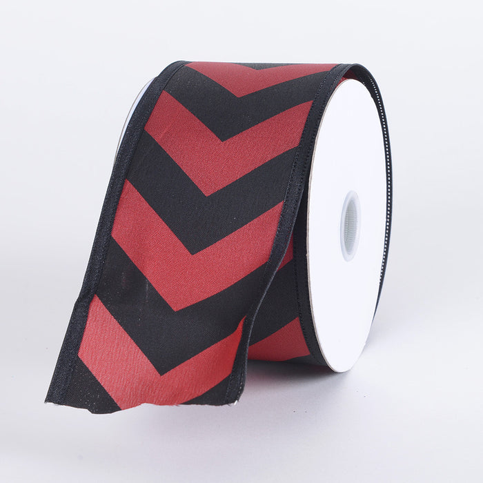 Chevron Print Satin Ribbon Black with Red ( W: 1-1/2 inch | L: 10 Yards )