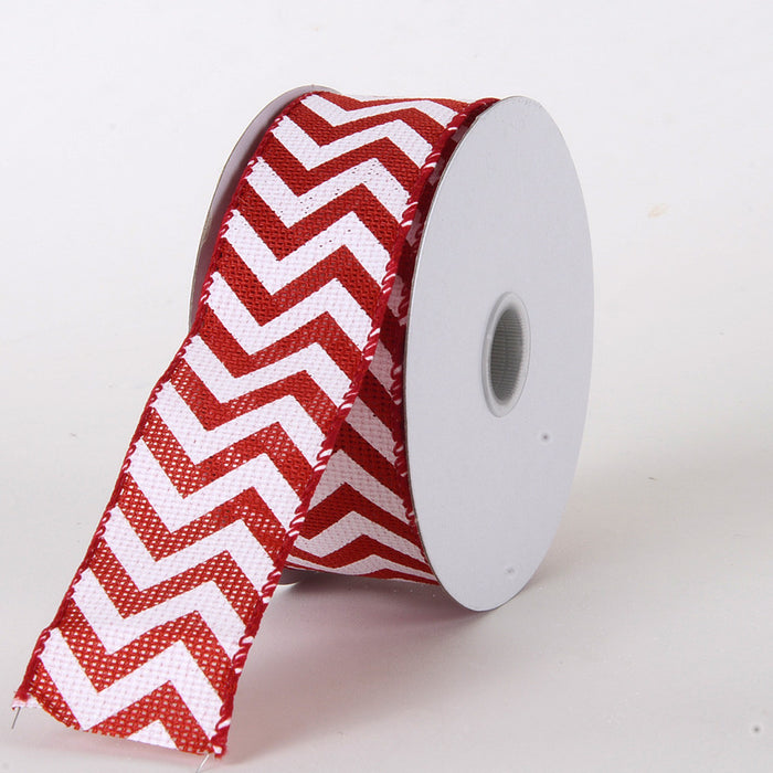 Chevron Burlap Wired Edge Red ( W: 1-1/2 inch | L: 10 Yards )