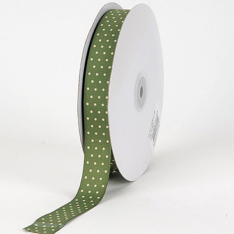 Grosgrain Ribbon Swiss Dot Old Willow with White Dots ( W: 3/8 inch | L: 50 Yards ) -