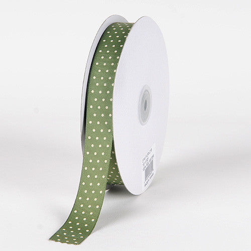 Grosgrain Ribbon Swiss Dot Willow with Ivory Dots ( 7/8 inch | 50 Yards ) -