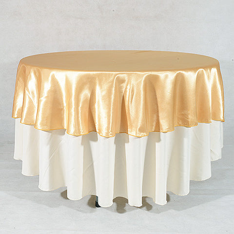 Old Gold  90 Inch Satin Round Tablecloths- Ribbons Cheap