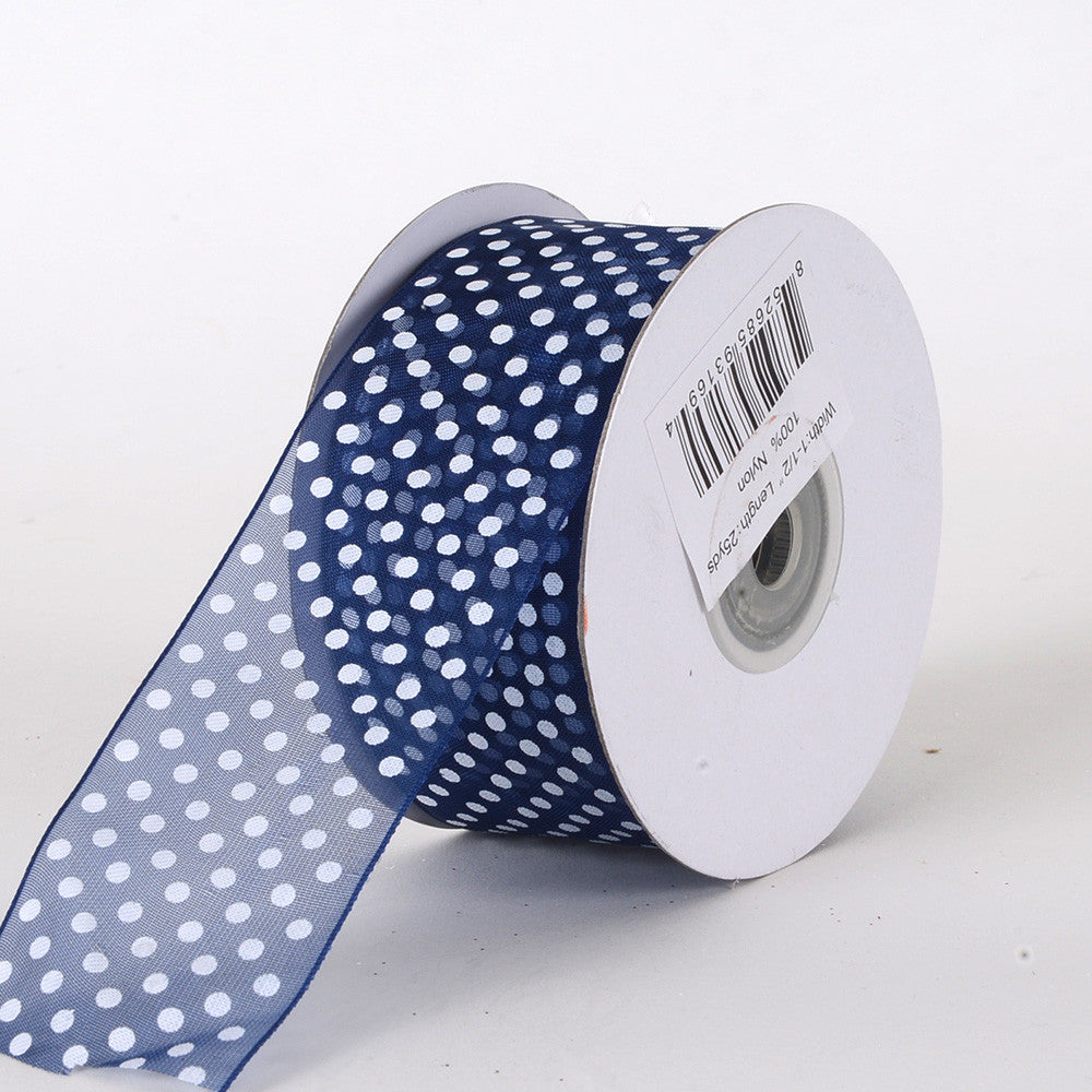 Organza Swiss Dots Ribbon Navy Blue ( 5/8 inch | 25 Yards ) -