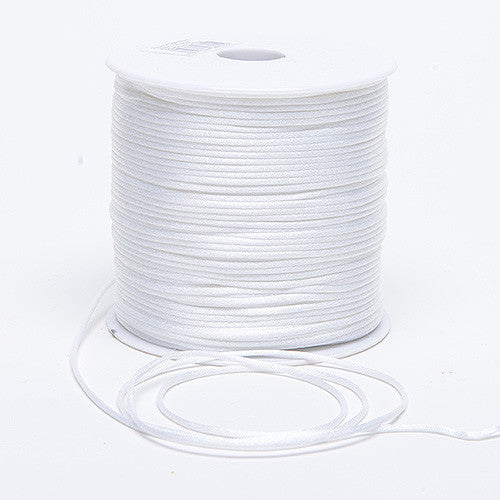 3mm Satin Rat Tail Cord White ( 3mm x 100 Yards )