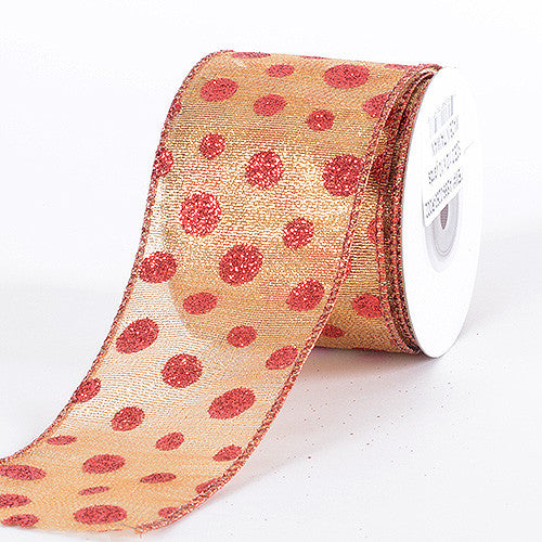 Christmas Ribbon Red Gold ( 2-1/2 Inch x 10 Yards ) -