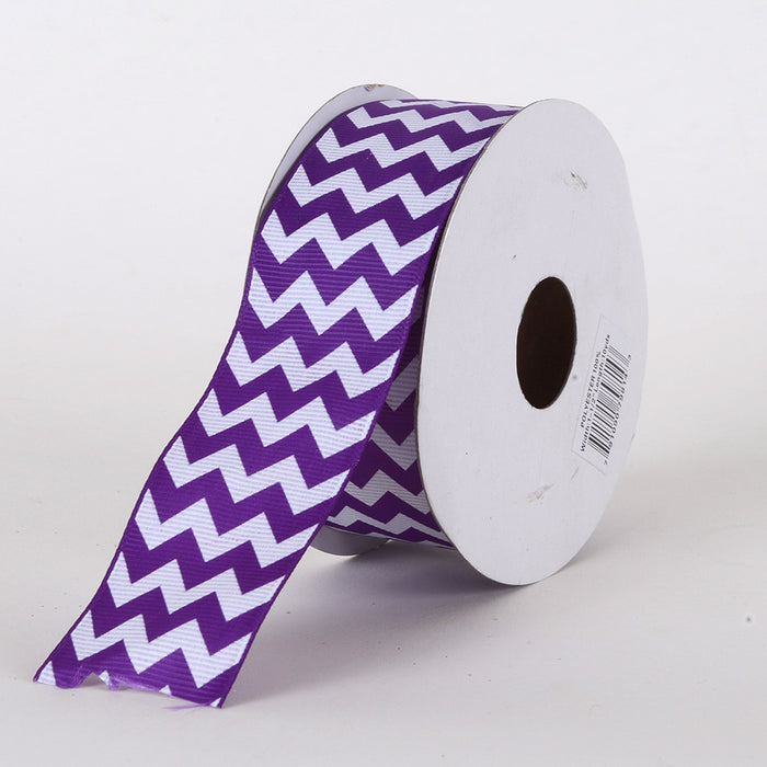 Grosgrain Chevron Ribbon Purple ( 7/8 inch | 10 Yards )