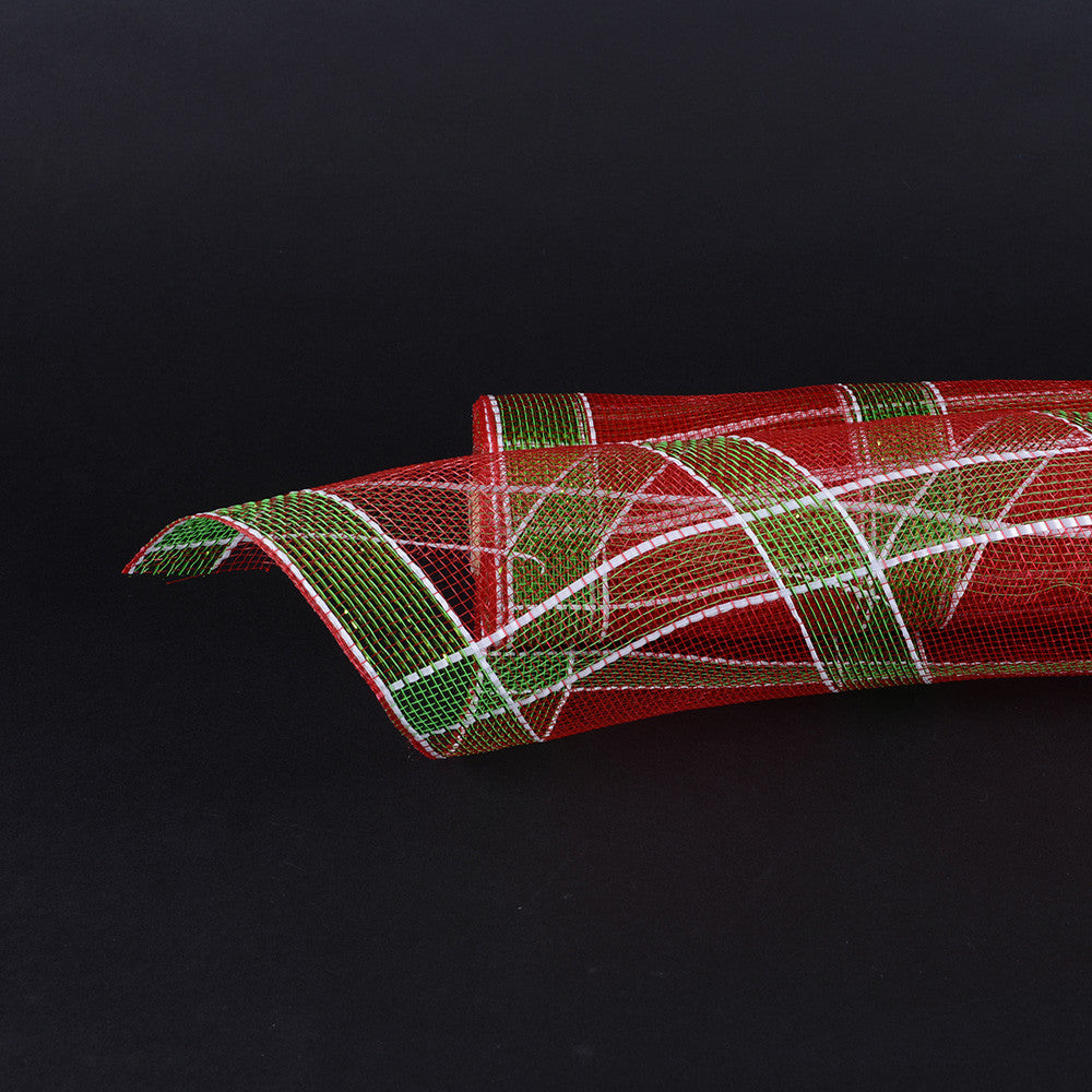 Poly Deco Xmas Check Mesh Metallic Stripe Red White Apple Green ( 21 Inch x 10 Yards ) -