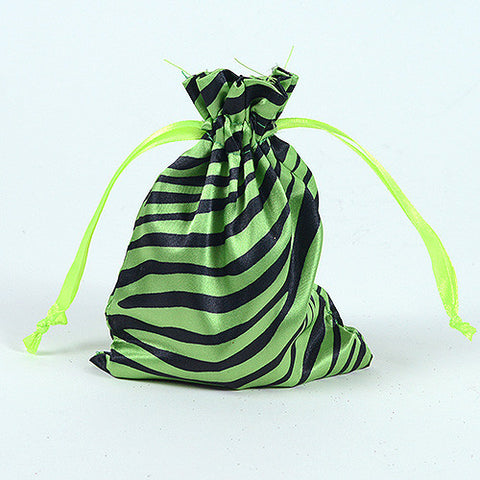 Animal Print Satin Bags Apple Green ( 4x5 Inch - 10 Bags ) - Ribbons Cheap