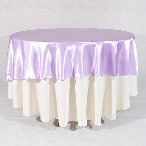 Lavender  90 Inch Satin Round Tablecloths- Ribbons Cheap