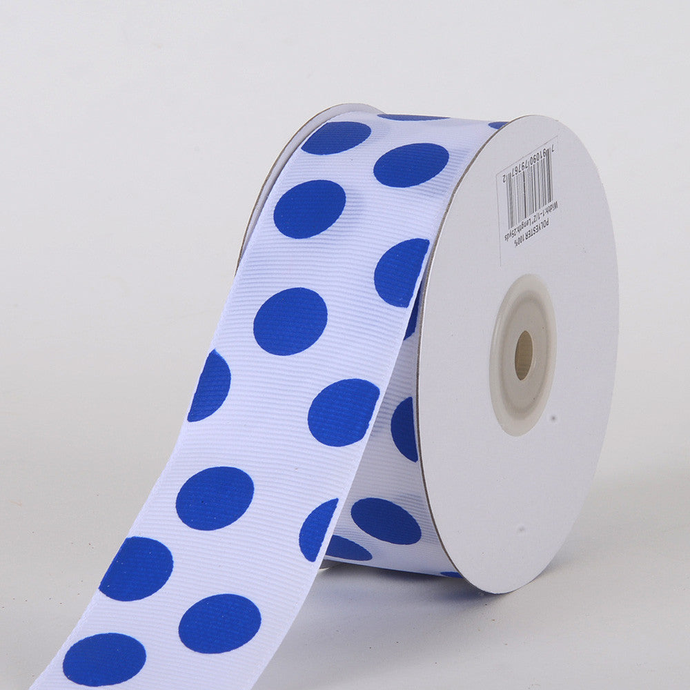 Grosgrain Ribbon Jumbo Dots White with Royal Dots ( W: 1-1/2 inch | L: 25 Yards ) -
