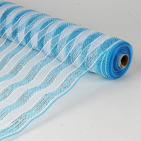 Poly Deco Mesh Wrap with Laser Mono Stripe Light Blue with White - 21 Inch x 10 Yards