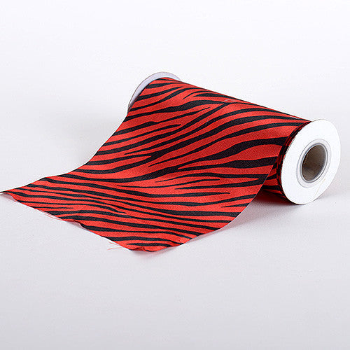 Animal Printed Satin Spool Red ( W: 6 inch | L: 10 Yards ) - Ribbons Cheap