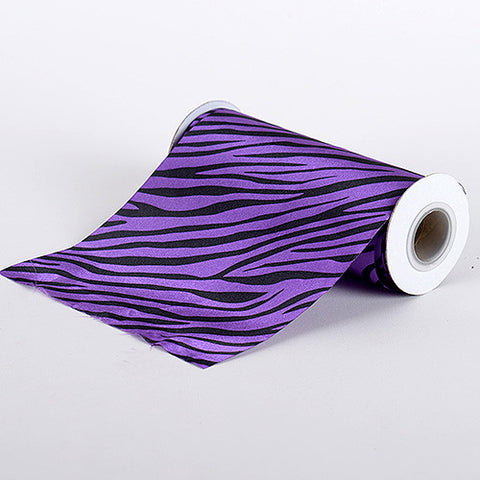 Animal Printed Satin Spool Purple ( W: 6 inch | L: 10 Yards ) - Ribbons Cheap