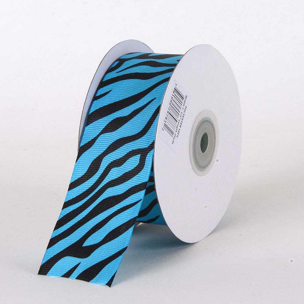 Grosgrain Ribbon Animal Print Turquoise ( W: 5/8 inch | L: 25 Yards ) -