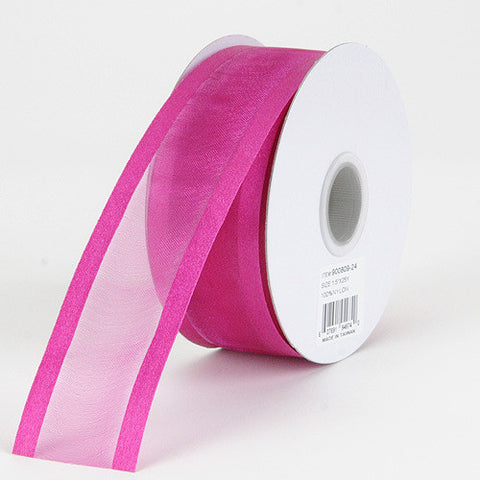 Organza Ribbon Two Striped Satin Edge Azalea ( W: 3/8 inch | L: 25 Yards ) -