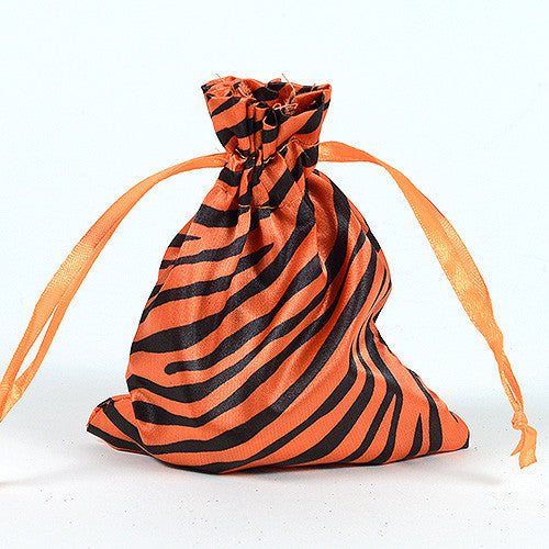 Animal Print Satin Bags Orange ( 3x4 Inch - 10 Bags ) - Ribbons Cheap