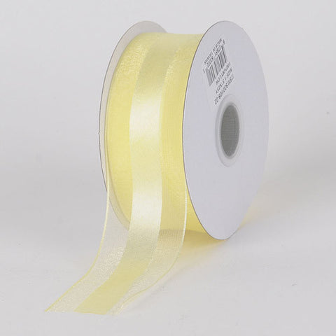 Organza Ribbon Satin Center Baby Maize ( W: 5/8 inch | L: 25 Yards ) -
