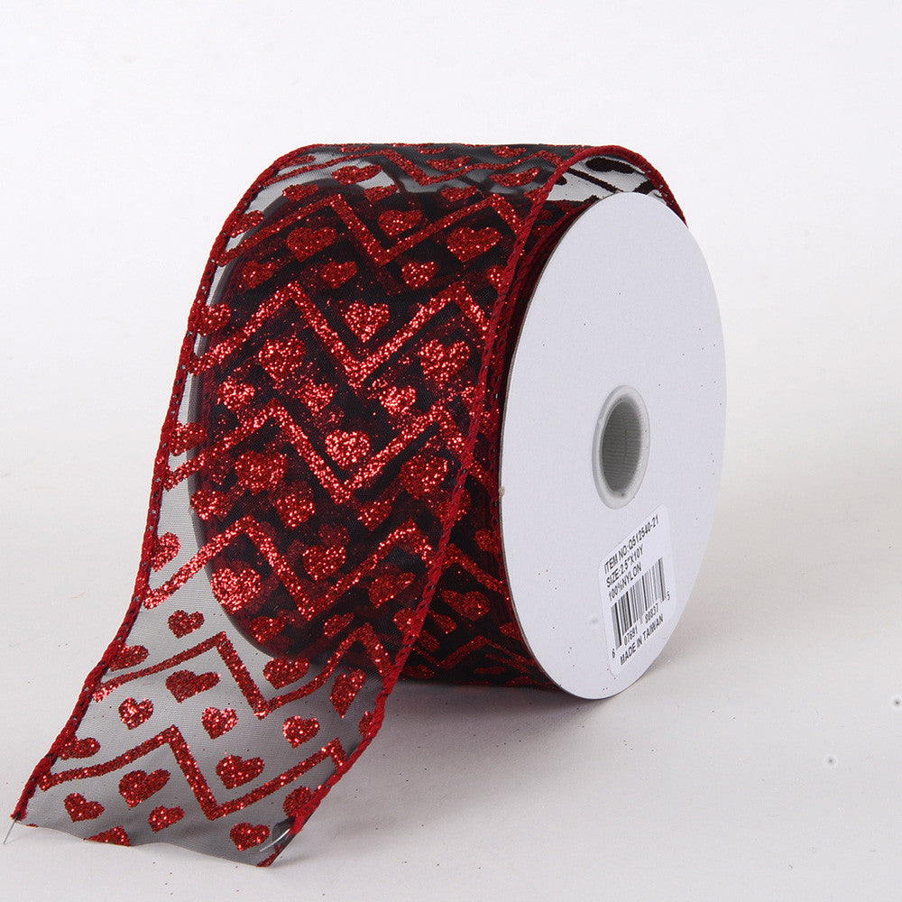 Valentine Ribbon Red Black ( 2.5 Inch x 10 Yards ) -