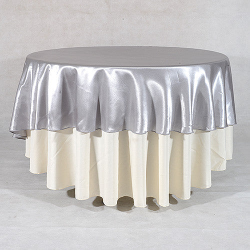 Silver  90 Inch Satin Round Tablecloths- Ribbons Cheap