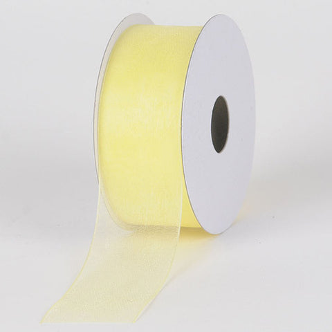 Sheer Organza Ribbon Baby Maize ( W: 3/8 inch | L: 25 Yards ) -