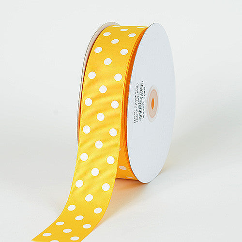 Grosgrain Ribbon Polka Dot Yellow with White Dots ( W: 3/8 inch | L: 50 Yards ) -