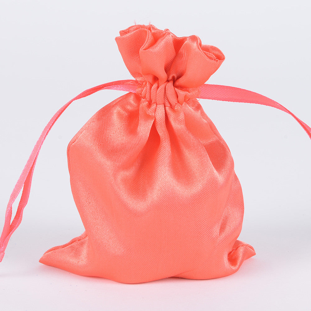 Satin Bags Coral ( 3x4 Inch - 10 Bags ) -