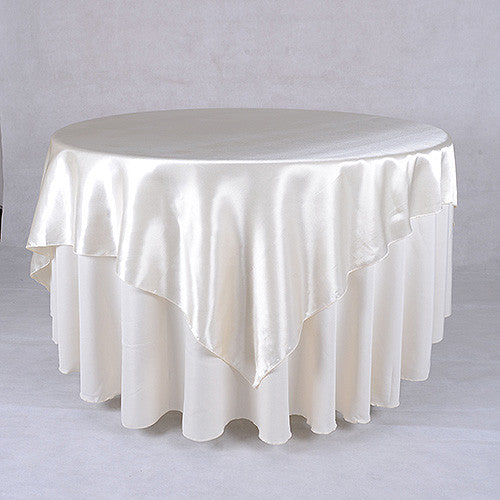 Ivory  60 x 60 Satin Table Overlays  ( 60 x 60 Inch )- Ribbons Cheap