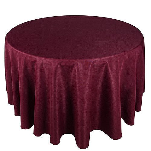Burgundy  90 Inch Round Tablecloths  ( W: 90 Inch | Round )- Ribbons Cheap