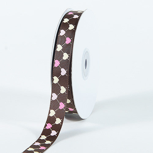 Grosgrain Ribbon Plaid Sweetheart Print Brown ( 5/8 inch | 25 Yards )