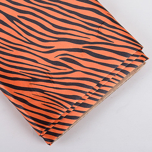 Animal Printed Satin Fabrics Orange ( W: 58 inch | L: 10 Yards ) - Ribbons Cheap