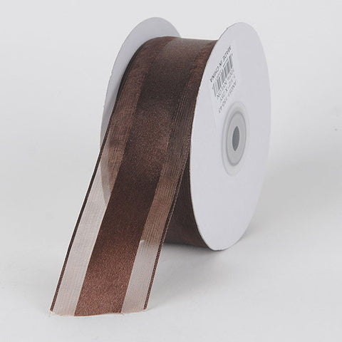 Organza Ribbon Satin Center Chocolate Brown ( W: 5/8 inch | L: 25 Yards ) -