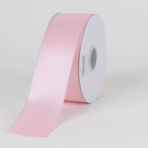 Satin Ribbon Wire Edge Light Pink ( W: 1-1/2 inch | L: 25 Yards ) -