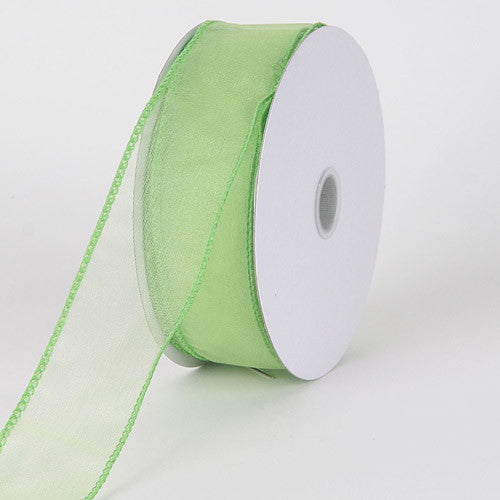 Organza Ribbon Thick Wire Edge 25 Yards Mint ( 2-1/2 inch | 25 Yards ) -