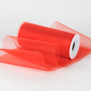 Organza Fabric 6 inch Red ( W: 6 inch | L: 25 Yards ) -