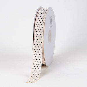 Grosgrain Ribbon Swiss Dot Ivory with Brown Dots ( 7/8 inch | 50 Yards ) -