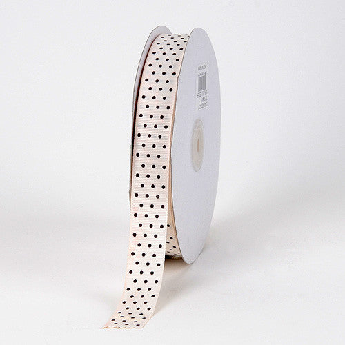 Grosgrain Ribbon Swiss Dot Ivory with Brown Dots ( 5/8 inch | 50 Yards )