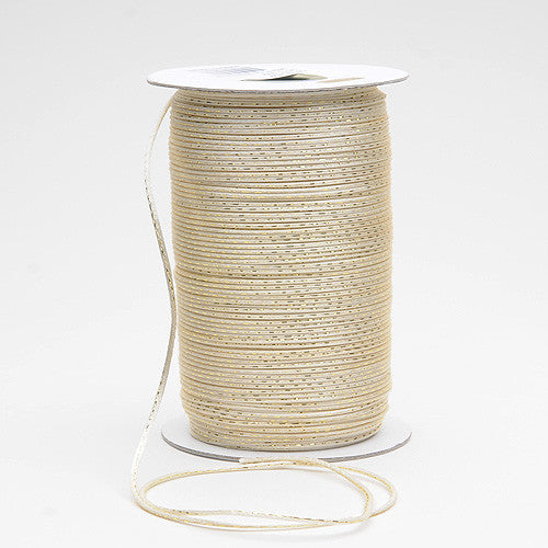 2mm Satin Rat Tail Cord Ivory with Gold ( 2mm x 100 Yards )