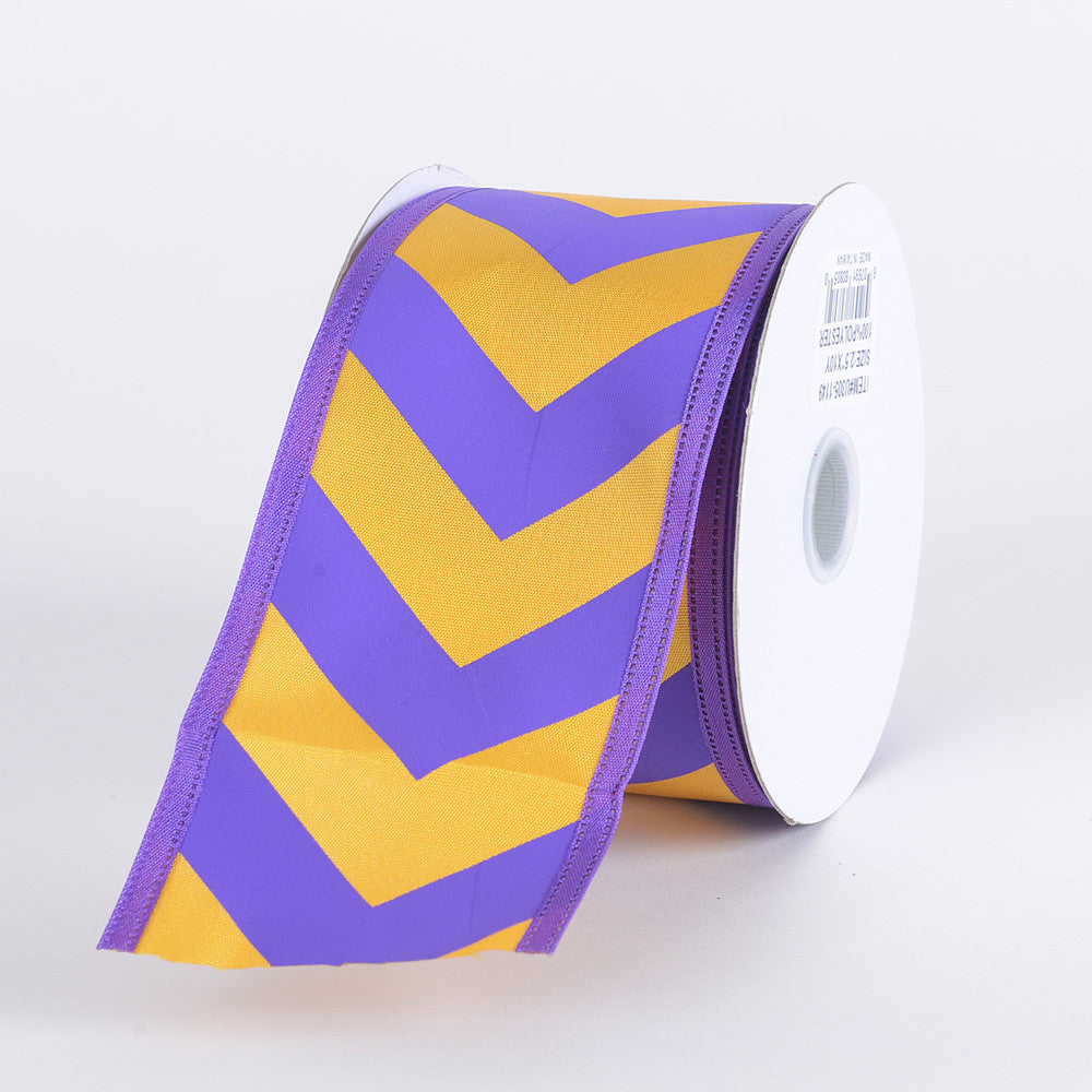 Chevron Print Satin Ribbon Purple with Light Gold ( W: 1-1/2 inch | L: 10 Yards ) -