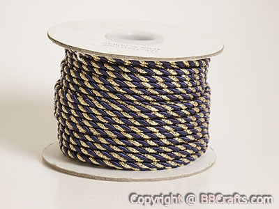 Petite Metallic Cord Navy Blue with Gold ( 3mm )