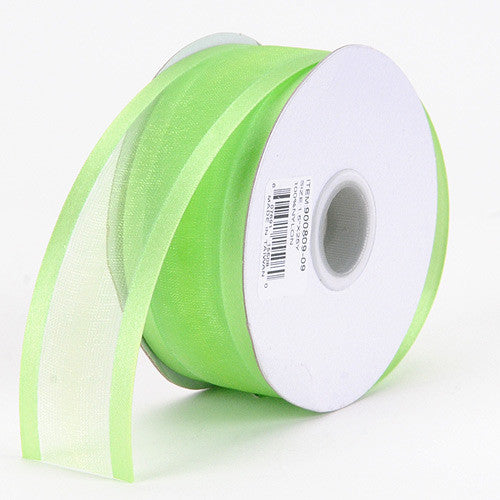 Organza Ribbon Two Striped Satin Edge Apple Green ( W: 3/8 inch | L: 25 Yards ) -