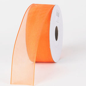 Organza Ribbon Thin Wire Edge 25 Yards Orange ( 1-1/2 inch | 25 Yards ) -