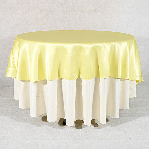 Baby Maize  90 Inch Satin Round Tablecloths- Ribbons Cheap