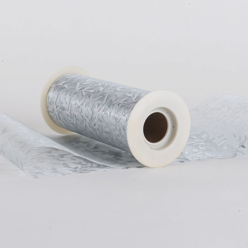 6 inch Organza Leaf Roll Silver ( 6 inch | 10 Yards ) - Ribbons Cheap