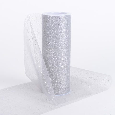 6 Inch Confetti Organza Roll Silver ( W: 6 inch | L: 10 yards ) - Ribbons Cheap