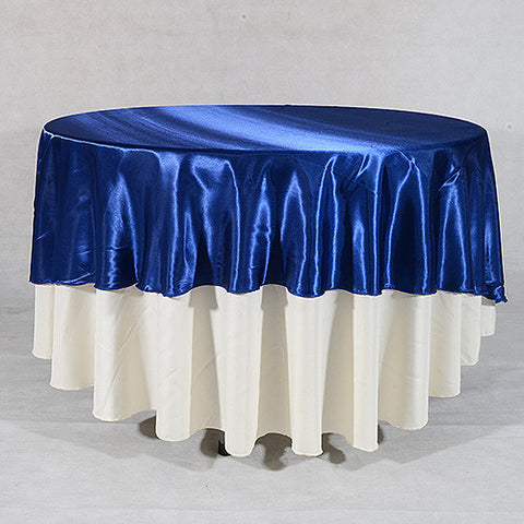 Navy  108 Inch Satin Round Tablecloths  ( 108 inch | Round )- Ribbons Cheap