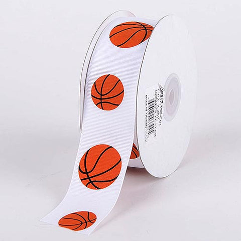 Grosgrain Ribbon Sports Design Basketball ( W: 3/8 inch | L: 25 Yards ) -