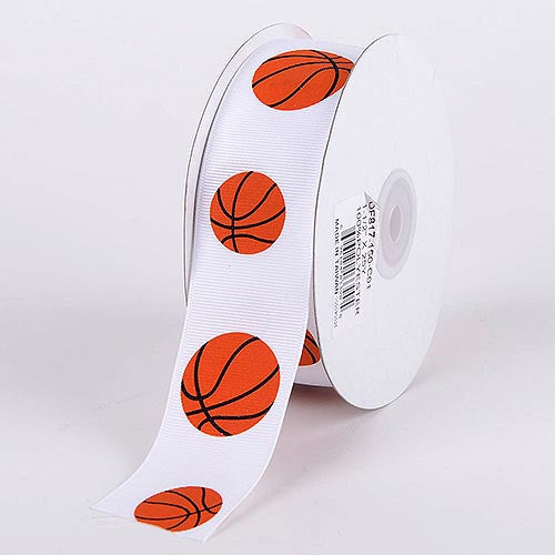 Grosgrain Ribbon Sports Design Basketball ( W: 5/8 inch | L: 25 Yards ) -