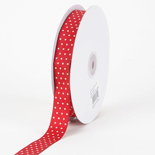 Grosgrain Ribbon Swiss Dot Red with Ivory Dots ( 5/8 inch | 50 Yards ) -
