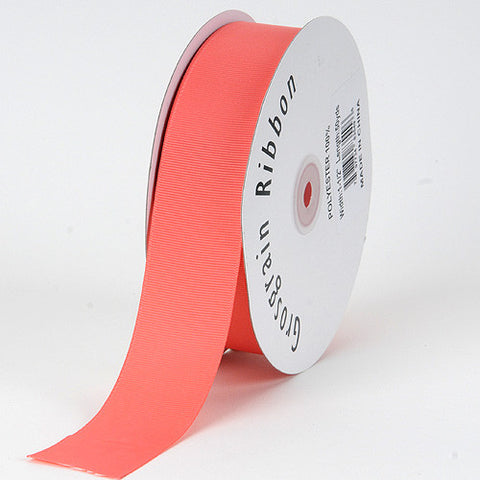 Grosgrain Ribbon Solid Color Coral ( W: 3/8 inch | L: 50 Yards ) -