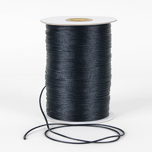 2mm Satin Rat Tail Cord Black ( 2mm x 100 Yards ) - Ribbons Cheap