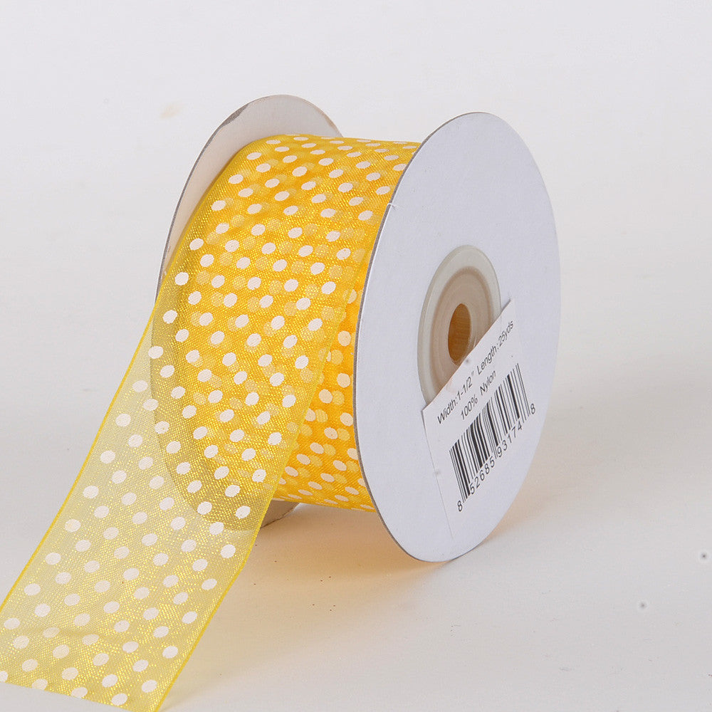Organza Swiss Dots Ribbon Sunflower ( 5/8 inch | 25 Yards ) -